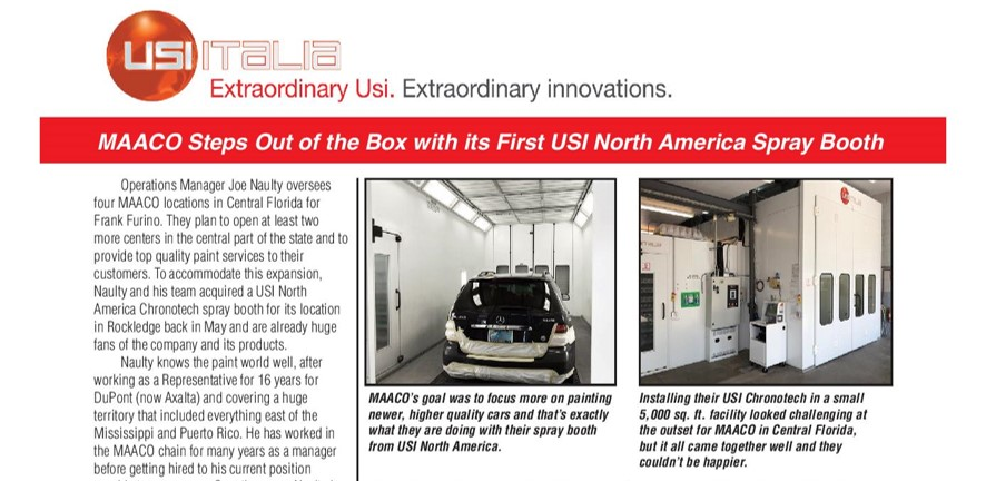 MAACO STEPS OUT OF THE BOX WITH ITS FIRST USI ITALIA PAINT BOOTH